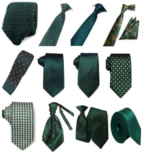 Bottle Green Collection Woven Paisley Jacquard Silk Knit Satin Tie Wedding lot